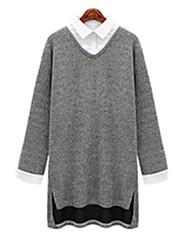 Tee-shirt Aux femmes,Mosaïque Décontracté / Quotidien simple Automne Manches Longues Col Arrondi Gris Polyester Moyen