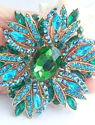 Gorgeous 3.94 Inch Gold-tone Turquoise Green Rhinestone Crystal Flower Brooch Art Deco