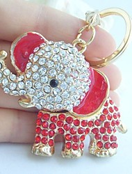 Unique Elephant Key Chain With Clear & Red Rhinestone Crystals