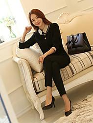 Women's Solid Black Blouse , Shirt Collar Long Sleeve Sequins