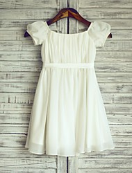 Sheath / Column Knee Length Flower Girl Dress - Chiffon Satin Short Sleeves Bateau Neck with Ribbon by thstylee