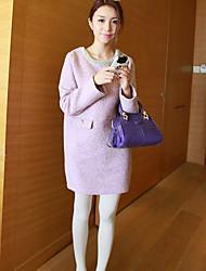 Vestido de maternidad Sobre la rodilla Con Cuentas - Mezclas de Lana - Escote Redondo Manga Larga
