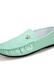 Mocasines Mocasines & ( Cuero Patentado , Azul/Verde/Blanco Tacón plano para Zapatos de hombre