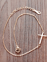 Ms Stainless Steel Plating Rose Gold Cross Anklets
