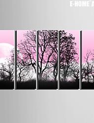 Paisagem / Botânico Impressão em tela 5 Painéis Pronto para pendurar , Vertical