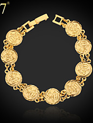 U7® Women's Islam Allah Bracelet 18K Real Gold/Platinum Plated Islamic Jewelry Gifts Link Chain Bracelet