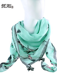 La Beau Green Color Print Tassel Trim Scarf