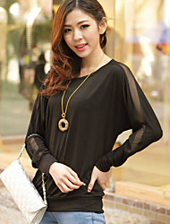 Women's Mesh Spliced Casual Round Batwing Sleeve Loose T-shirt