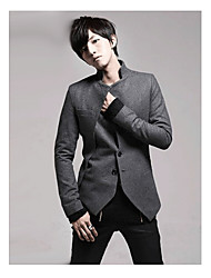 Men's Long Sleeve Regular Trench coat , Cashmere/Lycra/Microfiber/Polyester Pure