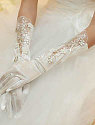 Satin/Lace/Lycra Elbow Length Wedding/Party Glove With Rhinestones