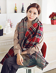 Women's Double-Sided Plaid Fringed Cashmere Woolen Dual Scarves Shawl