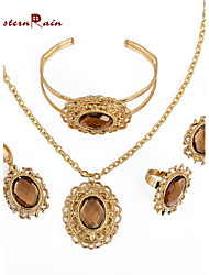 WesternRain New African Woman Gold Plated Jewelry Set with Brown Rhinestone/Fashion Costume Jewelry Set