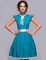 Women's Round Neck Button Hollow Out Dress , Nylon Above Knee Sleeveless
