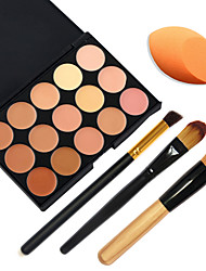 15 Colors Facial Concealer Palette+3pcs Makeup Brushes+Beauty Makeup Foundation Egg Puff(Assorted Sets)