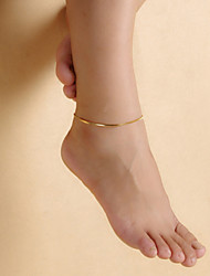 Fashion Women Gold Plated Smooth Alloy Bending Pipes Anklets