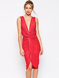 Women's Plunge Soft Twist Pencil Dress