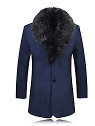 Men's Long Sleeve Plus Size Big Fur Collar Thick Wollen Trench coat