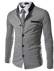 Color Block Decoration Stand Collar Slim Outerwear Male Blazer Jacket