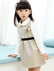 Girl'S Gold Flowers Bottoming Shirt Vest Two-Piece Dress , Winter/Fall