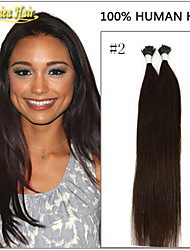 venta caliente 18-28inch 100strands 8a grado inclino extensiones de cabello pelo palo verdadera trama del pelo liso 14colors 1g / s 100 g