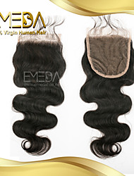 "8""-20"" Brazilian Virgin Hair Body Wave Lace  Closure Color (Natural Black) Baby Hair for Black Women"