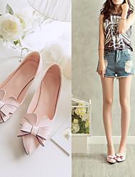DamenKleid-Kunstleder-Kitten Heel-Absatz-Spitzschuh-Rosa / Weiß