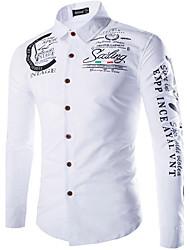Camisa De los hombres Casual/Trabajo/Formal Estampado - Algodón - Manga Larga