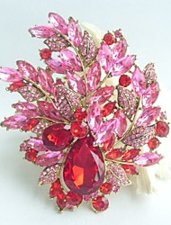 Gorgeous 4.33 Inch Gold-tone Red Pink Rhinestone Crystal Flower Brooch Art Deco Brooch Bouquet