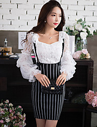 Pink Doll®Women's Casual/Party/Bodycon Striped High Waist Shake Off Skirts