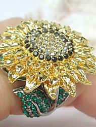 Gorgeous Green Black Rhinestone Crystal Sunflower Cocktail Ring Women Jewelry