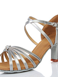 Women's Dance Shoes Sandals LeatheretteCuban Heel Gold/Silver