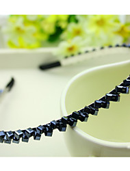 South Korea Imported Hairpin Rhinestone Beaded Head Hoop Decorations Double Row Crystal Hair Band Chan Blue