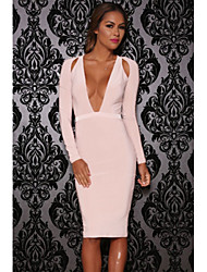 Women's Shoulder Cutout Long-Sleeve Jersey Dress