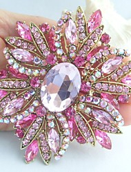 Gorgeous 3.94 Inch Gold-tone Pink Rhinestone Crystal Flower Brooch Art Deco