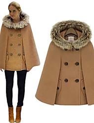 Lina Women'S Woolen Shawl Wool Tie Hat Cape Coat
