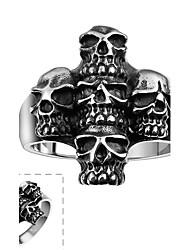 Anéis Caveira Halloween Diário Casual Esportes Jóias Aço Inoxidável Masculino Anel 1peça,8 9 10 Prateado