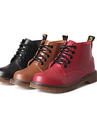 Zapatos de mujer - Tacón Bajo - Botas Anfibias / Punta Redonda - Botas - Vestido / Casual - Cuero - Negro / Marrón / Rojo