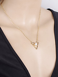Women's Gold Plated Geometric Metal Triangle Pearl Short Chain Bar Necklace Alloy Pendant & Necklace