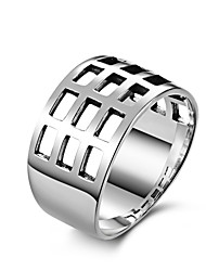 Fine Jewelry Retro European Fashion  Personality Exaggerated  Square hollow 925 Sterling Silver Wedding Rings for Women