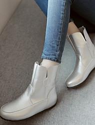 DamenKleid Lässig-Kunstleder-Keilabsatz-Modische Stiefel-Schwarz Weiß Silber