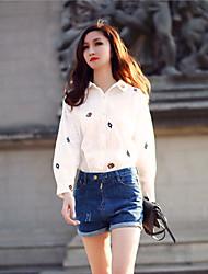 Camicia Da donna Colletto Manica lunga Cotone