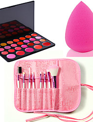 Pro 8pcs Makeup Brushes Set Foundation Eyeshadow Lip +26 Color Lipstick cosmetic palette Lip Gloss +Sponge Blender Puff