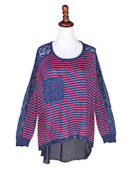 Women's Striped/Lace Pink/Black/Purple Blouse , Round Neck Long Sleeve Pocket