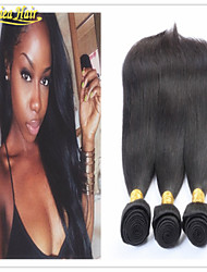 3PCS/lot Brazilian hair weaves virgin human hair weft straight human hair extensions free shipping