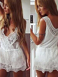 Women's V-Neck Dresses , Lace Sexy/Beach/Casual/Cute/Party Sleeveless Cathy