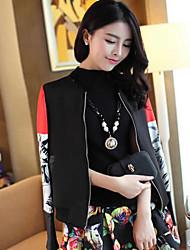Women's Print/Solid Black Jackets , Vintage Long Sleeve Pocket