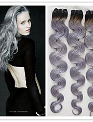 3Pcs/Lot New Arrival Brazilian Virgin Human Hair Extensions Body Wave Ombre Silver Grey Hair Weave 1B/Grey Two Tone