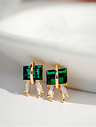 Square Crystal Emerald Bow Earrings Casual Platinum Plated/Gemstone & Crystal Stud Earrings 2015 Hot Sale