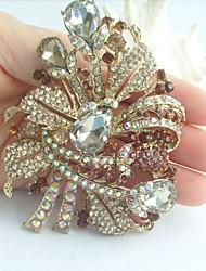 Gorgeous 3.54 Inch Gold-tone Topaz Rhinestone Crystal Flower Brooch Art Deco