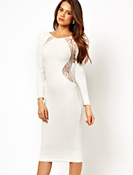 Women's Round Lace Dresses , Lace/Rayon Sexy/Casual/Lace/Party/Work Long Sleeve Phylomeya